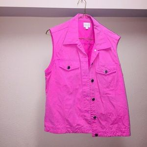 Pink sleeveless Cleo jean jacket